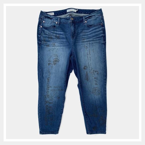 torrid Denim - Torrid Doodle Art Girlfriend Jeans Size 18